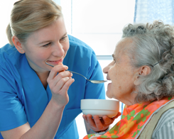 Nurse Feeding an Elderly Lady